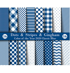 Set sixteen seamless polka dots gingham with vector