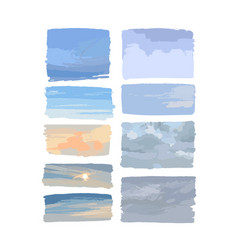 Set various sky backgrounds isolated on vector
