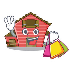 Shopping a red barn house character cartoon vector