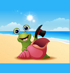 smiling snail cartoon on summer beach vector image