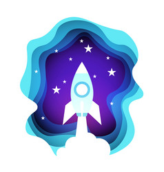 space rocket in night sky over shining stars vector image