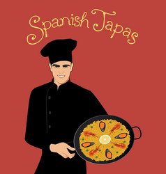 spanish tapas handsome spanish chef wearing a vector image