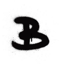 sprayed b font graffiti with leak in black vector image