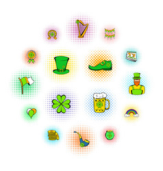 st patrick day set icons vector image