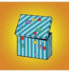 Striped holiday box for gifts vector