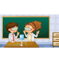 Students in lab vector image