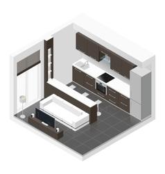 Studio apartment isometric icon set vector image