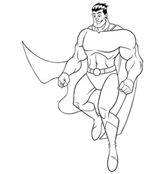 superhero flying happy line art vector image