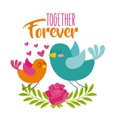 together forever birds love hearts flower vector image