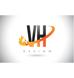 Vh v h letter logo with fire flames design and vector
