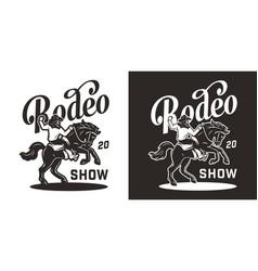 vintage rodeo monochrome logotype vector image