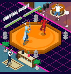 virtual fight isometric vector image
