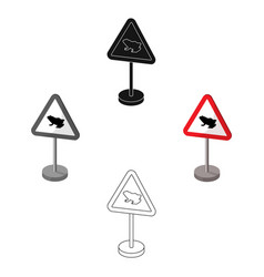 warning road sign icon in cartoonblack style vector image