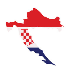 Waving fabric flag map of croatia vector