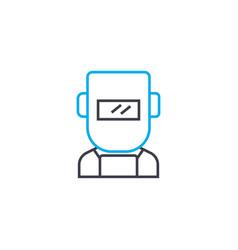 Welder mask linear icon concept welder mask line vector