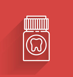 White line toothache painkiller tablet icon vector
