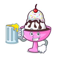 With juice ice cream sundae mascot cartoon vector