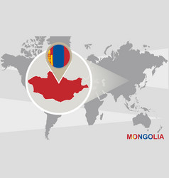 World map with magnified mongolia vector