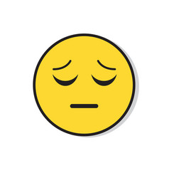 yellow sad face negative people emotion icon vector image