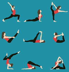 yoga Yoga set Yoga exercises Women yoga Yoga vector image