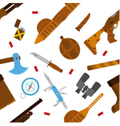 Hunting icons pattern with knife axe shotgun in vector