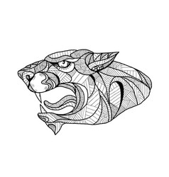 panther head zentagle vector image vector image