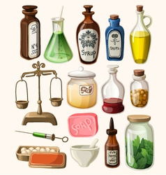 Set of vintage apothecary and medical supplies vector image vector image