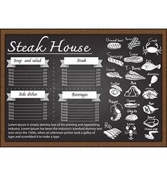 Steak menu on chalkboard vector image vector image