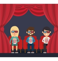 character man sitting watch 3d movie with pop corn vector image