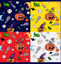 halloween symbols in the seamless pattern vector image vector image