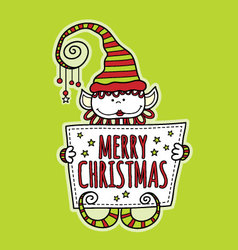 Merry Christmas Elf Holding Sign Bright Green vector image vector image