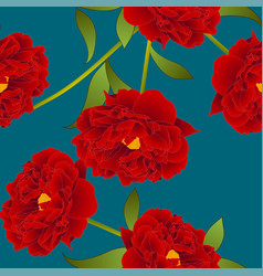 red peony flower on teal indigo background vector image vector image