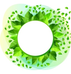Round blank frame with green leaves vector image