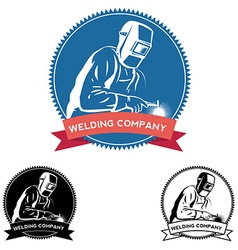 Silhouette of a working welding with a torch vector image