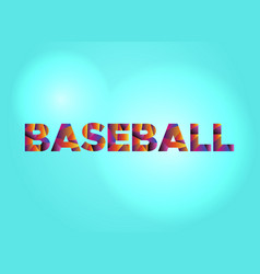 baseball concept colorful word art vector image vector image