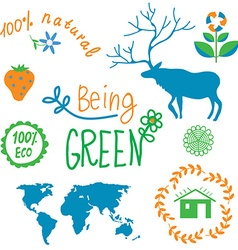 Ecology symbols and nature elements set vector image