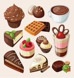 Set of chocolate sweets cakes and other food vector image vector image