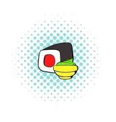 Sushi roll icon comics style vector image vector image