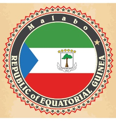 Vintage label cards of Equatorial Guinea flag vector image