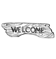 wooden welcome plate engraving vector image vector image