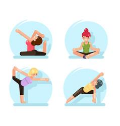 yoga cute girls fitness poses flat design vector image