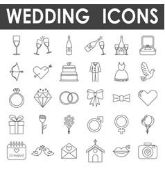 black line wedding icons vector image vector image
