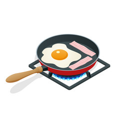 isometric fried eggs with bacon in a frying pan vector image vector image