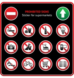 prohibited signs sticky label for supermarkets vector image vector image