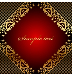 red frame with gold lace vector image vector image