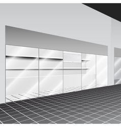 Shop with stand and shelves in the corridor vector image vector image