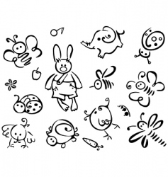 Silhouettes of cute animals vector