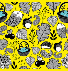 wallpaper pattern with autumn forest vector image vector image