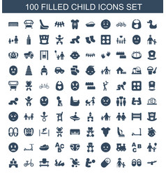 100 child icons vector image