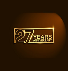 27 years anniversary golden design line style vector